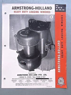 Armstrong-Holland Logging Winches Genuine Original Sales Brochure