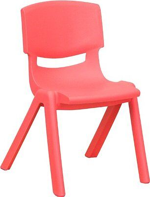 Flash Furniture YU-YCX-001-RED-GG Red Plastic Stackable School Chair with Seat