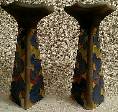 RARE South Africa Disney Mickey Mouse heads triangular stone candlestick holders