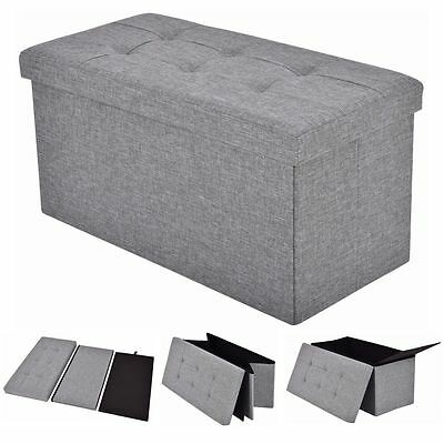 Folding Rect Ottoman Bench Storage Stool Box Footrest Furniture Decor Light Gray