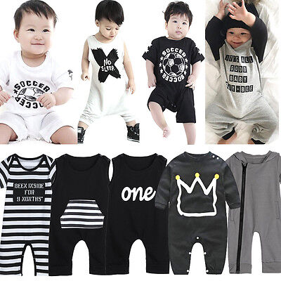 Infant Newborn Baby Boy Girl Kids Cotton Bodysuit Romper Jumpsuit Clothes Outfit