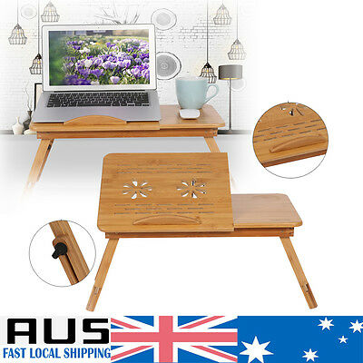 Bamboo Laptop Sofa Bed Notebook Desk Table Cooling Hole Mouse holder Tray HOT AU