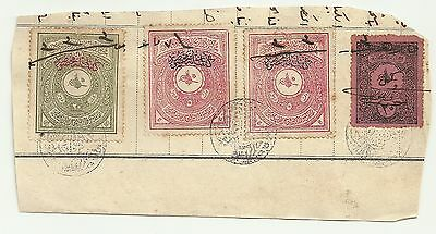 Turkey 4 Old Ottoman Revenue Fiscal Stamps on Cutout