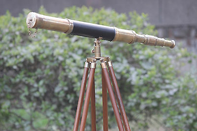 Vintage Nautical Telescope Leather Covered Marine Sailor Telescope Wooden Tripod