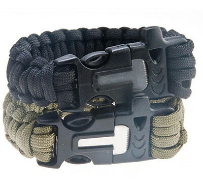4 in 1 Survival kit Flint Fire Starter Paracord Whistle Buckle Camping Bracelet