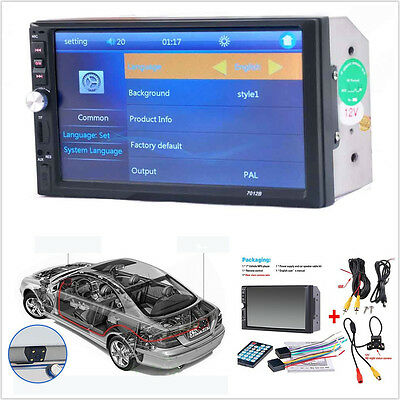 """7"""" 2-Din Car Video Player LCD Touch Screen Audio Stereo MP5 FM Bluetooth &Camera"""