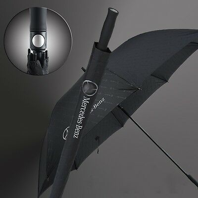 Black Mercedes Benz Logo Modern Business Men's Windproof Long Handle Umbrella