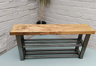 Hallway bench with two shelf shoe rack to base