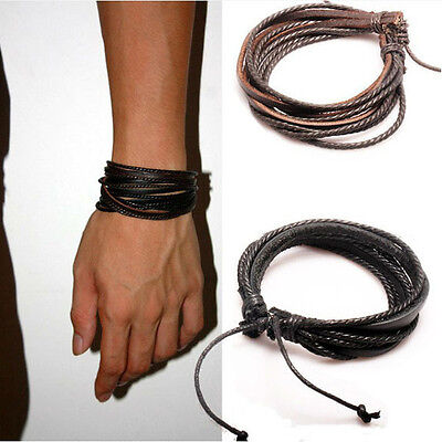 New Leather Bracelet Adjustable Fit Men Women Superior Quality