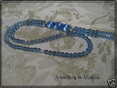 Eyeglass, Sunglass Beaded Chain Cord Holder Sky Blue Silver Fashionable