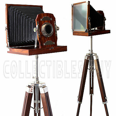 Vintage Film Photography Folding Camera Slide Studio Wooden Brown Tripod Replica