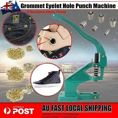 Grommet Eyelet Hole Punch Machine Hand Press 3 Dies With 900pcs Gold Grommets