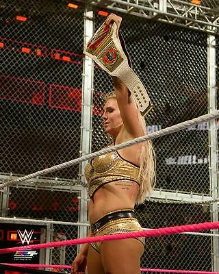 """WWE PHOTO CHARLOTTE FLAIR HOLDING BELT OFFICIAL HELL IN A CELL 8x10"""" PROMO"""