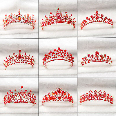 Bride Red Crown Baroque Princess Headbands Tiara Wedding Bridal Accessories Hot