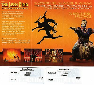 The Lion King 2 Tickets / Flyer Lyceum Theatre London 2007