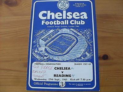 Chelsea Res v Reading  Res programme dated 27-9-1961   (064)
