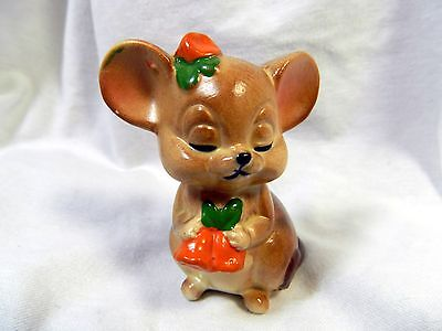 """Cute LEFTON Mouse Holding Carrots, Carrot Hat, Numbered w/ Sticker, 3"""" Tall, EUC"""
