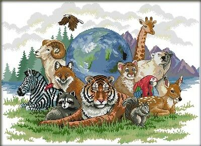 Animal World (Day). 14CT counted cross stitch kit. Craft brand new.