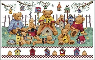 Little Bear's Party. 14CT counted cross stitch kit. Craft brand new.