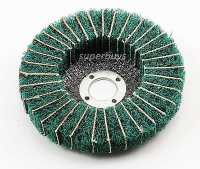 Green 100mm 120Grit Nylon Fibre Sanding Polishing Cleaning Wheel Rotary Tool