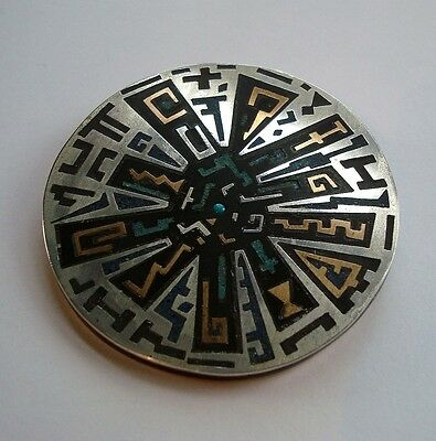 Large Vintage Sterling Silver Mexico Taxco Inlaid Brooch / Pendant Signed Tono