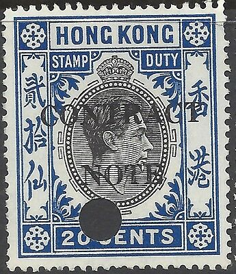Hong Kong KGVI 20c CONTRACT NOTE REVENUE, Used, BAREFOOT#214B