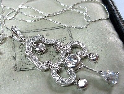 Vintage Edwardian Style Jewellery Solid Silver Crystal Lavalier Drop NECKLACE