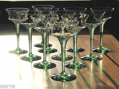 Heisey Glass AFRICAN Moongleam Stem Diamond Optic Champagne Glasses-Set of 11