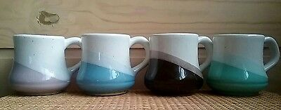 Set of four retro 80's mugs. Pastal colours.Made in taiwan.