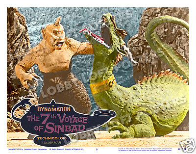 THE 7th VOYAGE OF SINBAD LOBBY SCENE CARD # 9 POSTER 1958 CYCLOPS VS. TARO