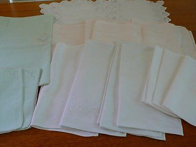 Vintage Damask Napkins Green Supper Cloth & Napkins Crochet Edge Placemats