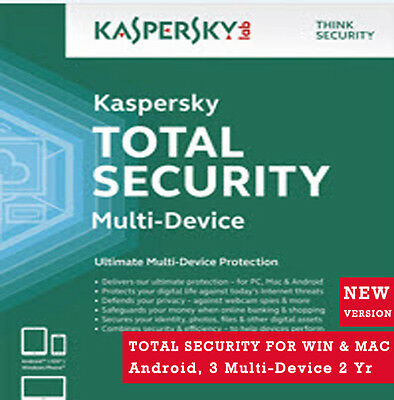 Latest Kaspersky Total Security-3 Device 2 Yr For Win, MAC, Android- License Key
