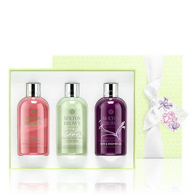 Molton Brown Ladies Body Wash Gift Set 3 x 300ml Rhubarb & Rose / Lily of Valley
