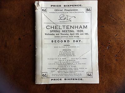 CHELTENHAM  1939 Racecard.  68 years old.