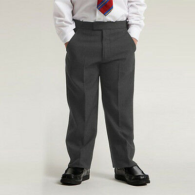 Boys School Trousers Stocky Generous Fit Sturdy Chunky Fit Elasticated Grey