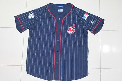 VTG CLEVELAND INDIANS BASEBALL JERSEY STARTER MLB XL Chief Wahoo Playoffs Tribe