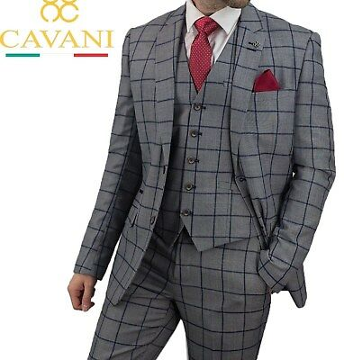 Cavani Macy Men's New 3 Piece Peaky Blinder Suits Grey Blue Checked