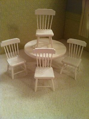 Dolls House 1:12th Scale Kitchen Dining Table & 4 Chairs Set... White