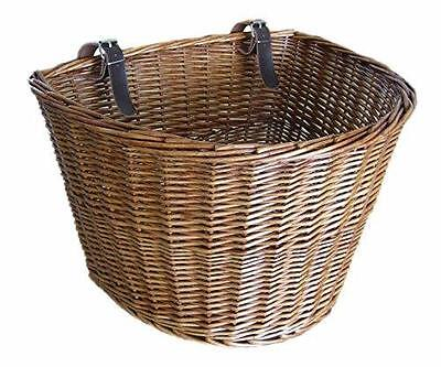 Large Traditional Wicker Willow Bicycle Front Basket with Leather Straps