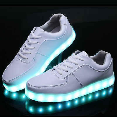 Hot Sell LED Unisex Light Lace Up Luminous Shoes Sneaker Luminous Casual Shoes @