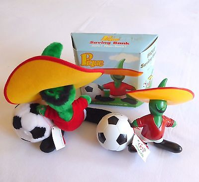 Vintage soft toy and saving bank PIQUE the oficial WORLD CUP mascot MEXICO 1986