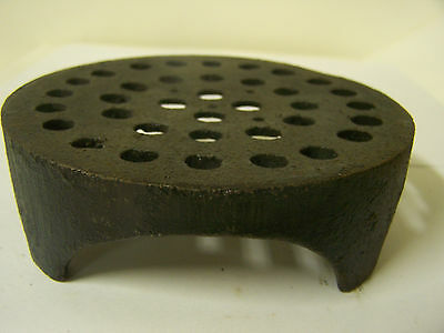 "Vintage Cast Iron Floor Drain Cover w/Legs 5 1/8"" Round 1 9/16"" Tall Jumbo Brand"