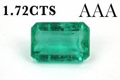 Rare Blue Green 1.72cts Loose Natural Colombian Emerald Cut Loose Gemstone