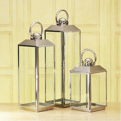 Stainless Steel Candle Lantern Set of 3 Canted Top