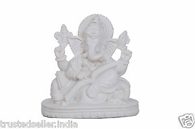 "4"" Reading Book Ganesh Ganesha Statue Handmade Poly Marble Home Decor Best Gift"