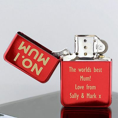 Personalised Engraved No.1 Red Lighter - No.1 Mum, Dad, Grandad, Free Text
