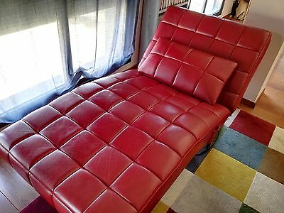 Chaise longue piel roja reclinable c/ motor
