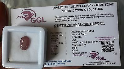 Natural Red Ruby 2,90 cts oval Gemstone + certficate