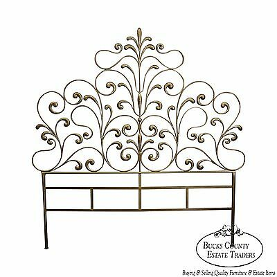 1950s Italian Gilt Metal Queen Size Headboard