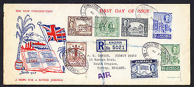 1945 Jamaica King George VI New Constitution stamp set on TONED First Day Cover